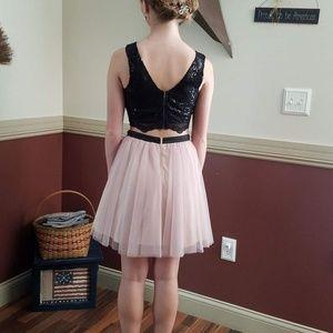 Short, 2 piece formal dress.